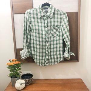 Cotton Express Green Plaid Top